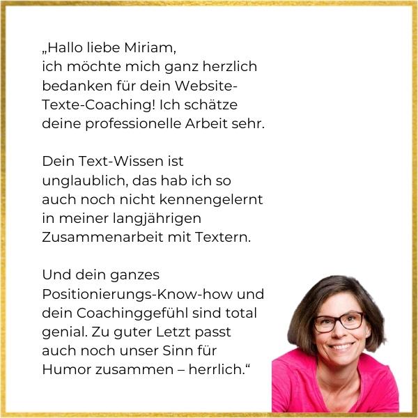 Testimonial von Pamela Ruhe zum Website-Texte-Coaching